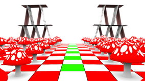 Beweging van een mening langs de amaniet en de speelkaarten op het schaakbord met masker 3D-teruggeeft UHD - 4K stock illustratie