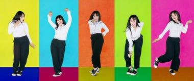 Beweging van het aantrekkelijke onderneemster dansen royalty-vrije stock foto's