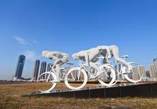 Beweging van het Xinghai de vierkante beeldhouwwerk Stock Afbeelding