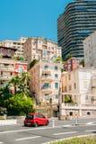 Beweging van voertuigen op straatstad in Monaco, Monte Carlo Stock Foto