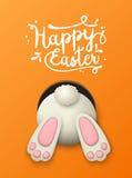 Beweging veroorzakende Pasen, konijntjesbodem op oranje achtergrond, illustratie vector illustratie