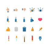 Bewegliche APP-Ikone des flachen Netzes: gleiches Abneigungsnoten-Aufkleberherz Stockbild