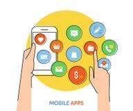 Bewegliche apps Stockbild
