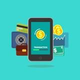 Bewegliche Bankwesenillustration für Geldgeschäft, Technologie, Geschäft, bewegliches Bankwesen und bewegliche Zahlung lizenzfreie abbildung
