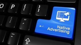 Bewegliche Bewegung der gebürtigen Werbung auf Computertastaturknopf lizenzfreie abbildung