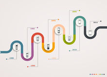 Bewegliche Entwicklung auf schrittweiser Struktur Infographic-Diagramm mit Handys Stockfotografie