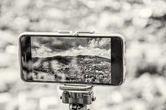 Bewegliche Fotografie des intelligenten Telefons der alten Bergbaustadt Banska Stiavni Lizenzfreie Stockfotografie