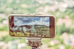 Bewegliche Fotografie des intelligenten Telefons der alten Stadt Banska Stiavnica, bea Lizenzfreie Stockfotos