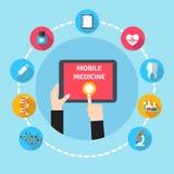 Bewegliche Gesundheit mit der Handhand, die Tablette hält lizenzfreie abbildung