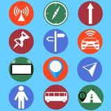 Bewegliche gps-Navigation und die eingestellten Ikonen der Reise flachen lokalisierten Illustration set Stockfoto