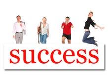 Bewegliche Leute zur Erfolgswort-Vorstandcollage Stockfotografie