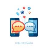 Bewegliche Mitteilung, im und Sozialchat oder sms flach Stockfotografie