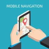 Bewegliche Navigation GPSs mit Smartphone in der Hand lizenzfreie abbildung