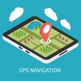 Bewegliche Navigation GPSs mit Tablette oder Smartphone lizenzfreie abbildung