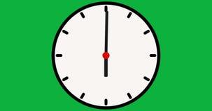 Bewegliche Pfeile des Stoppuhranimationsikonen-Entwurfs auf grünem Schirm Uhr-Zeitspanne Animationsuhr auf einem grünen Hintergru lizenzfreie abbildung