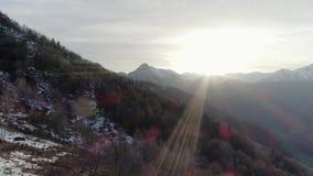 Bewegliche Seite über bloßem Fallholzwald und schneebedeckter Berg am Herbst- oder Wintertag Sonniges Natur scape im Freien felsi stock video footage