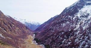 Bewegliche Seite des Luftfliegens über Flussnebenfluß im gelbem Gebirgstal und in Waldholzfall establisher Schnee im Freien wild stock video