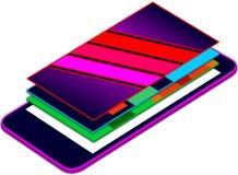 Bewegliche sich hin- und herbewegende Schichten Netz-APP-Darstellung 3D auf mobilen Schirm Lizenzfreies Stockfoto