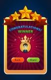 Bewegliche Spiel-Siegerschirm UI Vektor-Illustration lizenzfreie abbildung