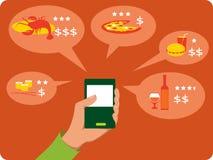 Bewegliche Suche nach Restaurants Stockbild