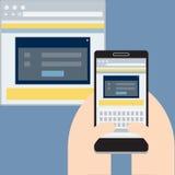 Bewegliche Website auf Anzeige, Vector flaches Design Lizenzfreie Stockbilder