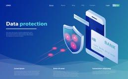 Bewegliche Zahlungen der Konzepte Datenschutz mit Smartphone und Schild Kreditkartekontrolle und Software-Zugangsdaten, wie vertr stock abbildung