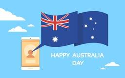 Bewegliche Zellintelligentes Telefon übergibt Australien-Tag Stockbilder