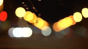 Bewegliche Zusammenfassung verwischte Lichter einer Nachtstadt stock footage