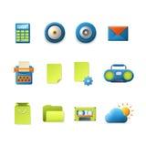 Beweglicher APP-Vektor der Steigungstechnologieikonen: Postwetterordner Stockfotos