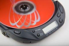 Beweglicher CD-Player mit Platte stockbilder