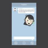 Beweglicher Chat gestaltet Mitteilungs-Kasten-Beispieltext Stockfoto