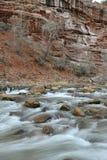 Beweglicher Fluss in der roten Felsenschlucht, Zion National Park, Utah Stockbilder
