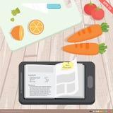 Bewegliches Anwendungskochbuch-, -c$kochen und -Lebensmittelkonzept Stockfotografie