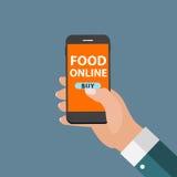 Bewegliches Apps-Konzept-on-line-Lebensmittel-Lieferung, Einkaufen, E-Commerce I Stockbild