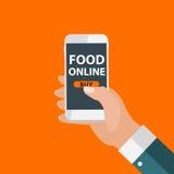 Bewegliches Apps-Konzept-on-line-Lebensmittel-Lieferung, Einkaufen, E-Commerce I Lizenzfreies Stockfoto