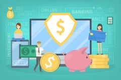 Bewegliches Bankwesenon-line-konzept Herstellung von Geldgeschäften stock abbildung