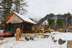Bewegliches Blockhaus der Baumannschaft Stockbilder