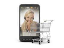 Bewegliches Einkaufen - Handy und Wagen stockfoto