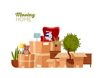 Bewegliches Haus Bewegen mit Kästen auf neues Haus Stapel von Staplungspappschachteln mit Möbeln, Stuhl, Dump, Anlagen, Katze fla stock abbildung