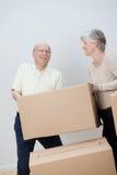 Bewegliches Haus der älteren Paare Stockfoto