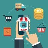 Bewegliches Marketing und bewegliches Einkaufskonzept Flache Vektorillustration vektor abbildung