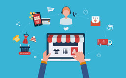 Bewegliches Marketing und Online-Shop Stockbild