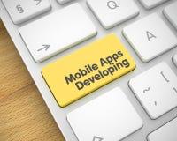 Bewegliches sich entwickelndes Apps - Text auf gelbem Tastatur-Knopf 3d Stockbilder