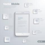 Bewegliches Smartphone mit Ikonenschnittstelle. Infographic Stockfoto