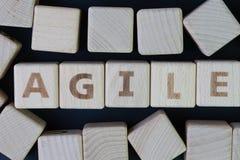 Bewegliches Softwareentwicklungskonzept, Würfelholzklotz mit dem Alphabet, welches das Wort beweglich in der Mitte auf dunkler Ta stockfotos
