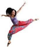 Bewegliches Tanzen der jungen Frau stockbild