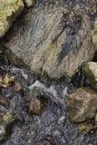 Bewegliches Wasser auf Felsen Stockbild