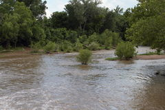 Bewegliches Wasser von einem breiten und von Muddy River Lizenzfreie Stockfotos