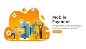 bewegliches Zahlungs- oder Geld?berweisungskonzept E-Commerce-Marktkaufende on-line-Illustration mit kleinem Leutecharakter Schab stock abbildung