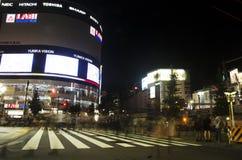 Bewegung geverwischt vom japanischen Volk gehende Zebrastreifenverkehrs-Straße Lizenzfreie Stockbilder